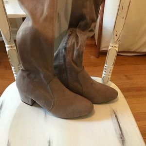 Shoes - Thigh High Taupe Suede Flat Boots